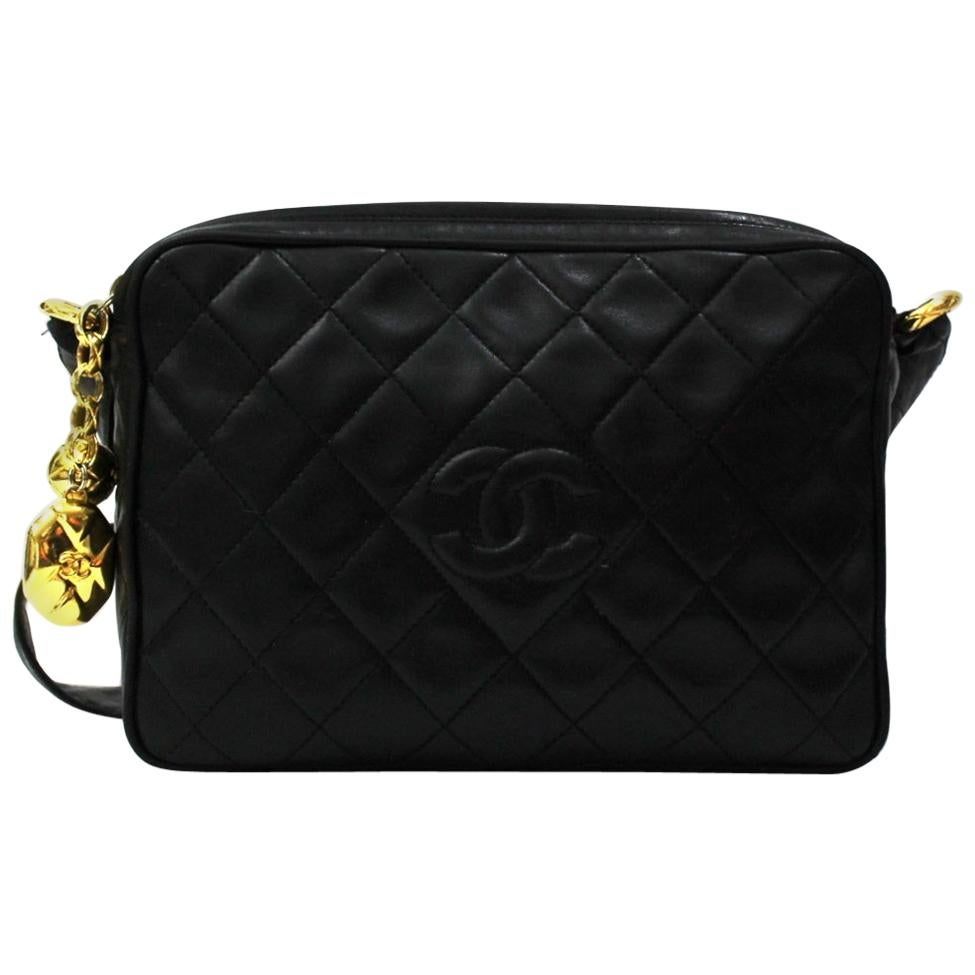 1990s Chanel Black Leather Camera Bag