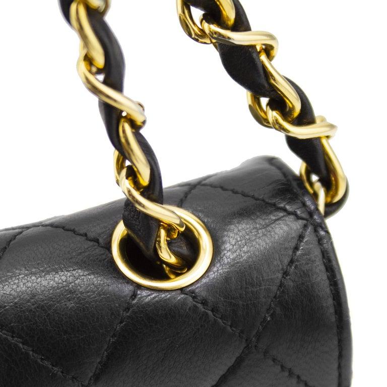 1990s Chanel Black Leather Mini Flap Bag  For Sale 1