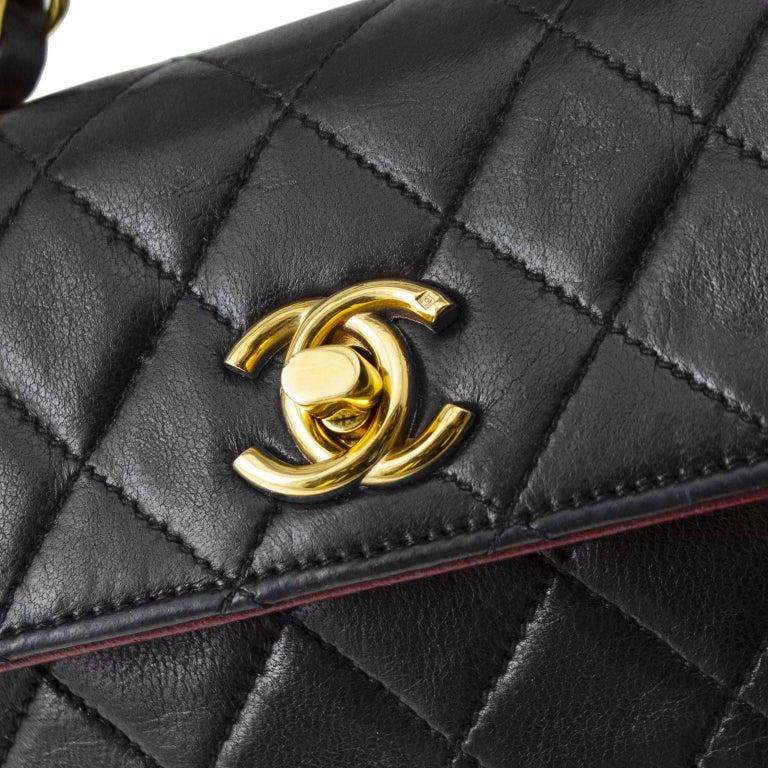 1990s Chanel Black Leather Mini Flap Bag  For Sale 2