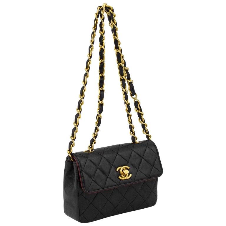1990s Chanel Black Leather Mini Flap Bag  For Sale