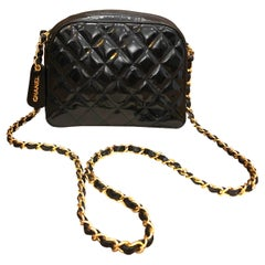 1990s Chanel Black Quilted Patent Leather Chain Crossbody Bag