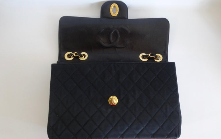 Chanel Black 1990s Quilted Satin Classic Single Flap Jumbo Bag  For Sale 6