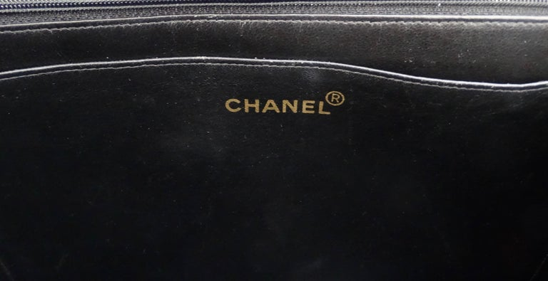 Chanel Black 1990s Quilted Satin Classic Single Flap Jumbo Bag  For Sale 10