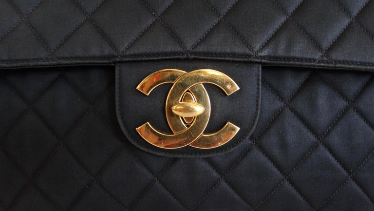 Chanel Black 1990s Quilted Satin Classic Single Flap Jumbo Bag  In Good Condition For Sale In Scottsdale, AZ