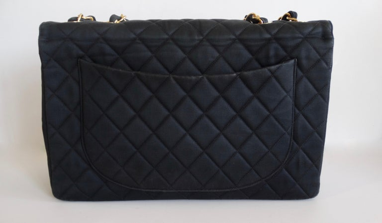 Women's or Men's Chanel Black 1990s Quilted Satin Classic Single Flap Jumbo Bag  For Sale