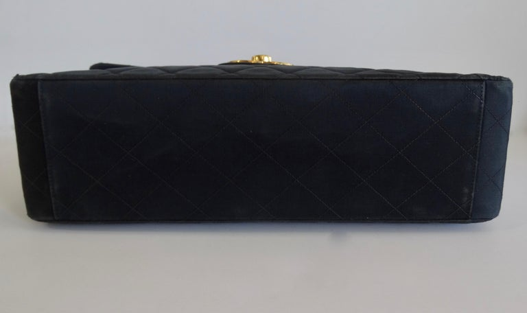 Chanel Black 1990s Quilted Satin Classic Single Flap Jumbo Bag  For Sale 2