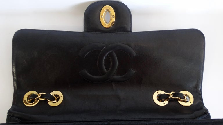 Chanel Black 1990s Quilted Satin Classic Single Flap Jumbo Bag  For Sale 3
