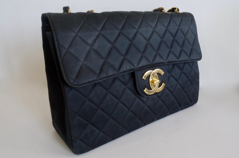 Chanel Black 1990s Quilted Satin Classic Single Flap Jumbo Bag  For Sale 4