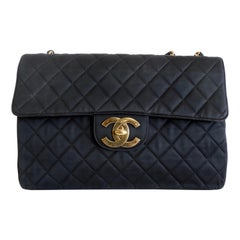 Chanel Black 1990s Quilted Satin Classic Single Flap Jumbo Bag