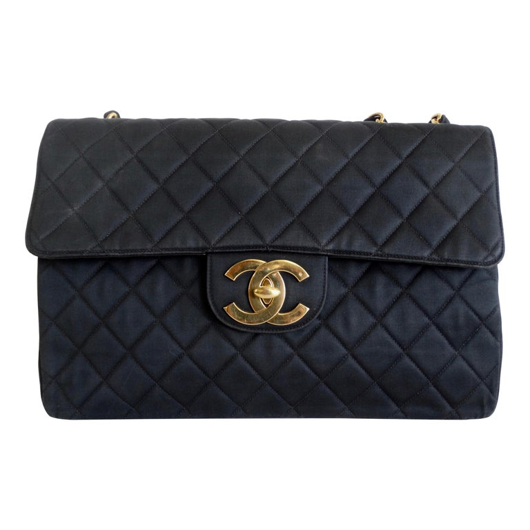 Chanel Black 1990s Quilted Satin Classic Single Flap Jumbo Bag  For Sale
