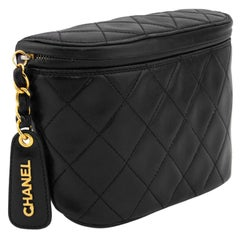 1990s Chanel Black Quilted Waist Bag