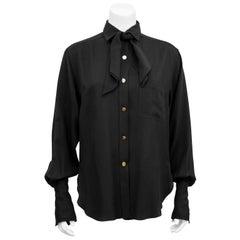 1990s Chanel Black Silk Shirt with Necktie