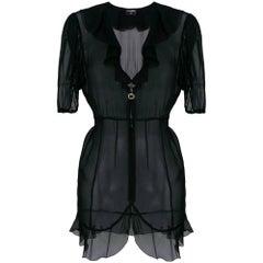 1990s Chanel Black Transparent Shirt