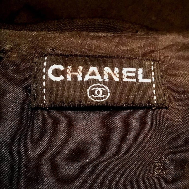 1990s Chanel Black Tuxedo Dress With Satin Bow & Detachable Collar For Sale 1