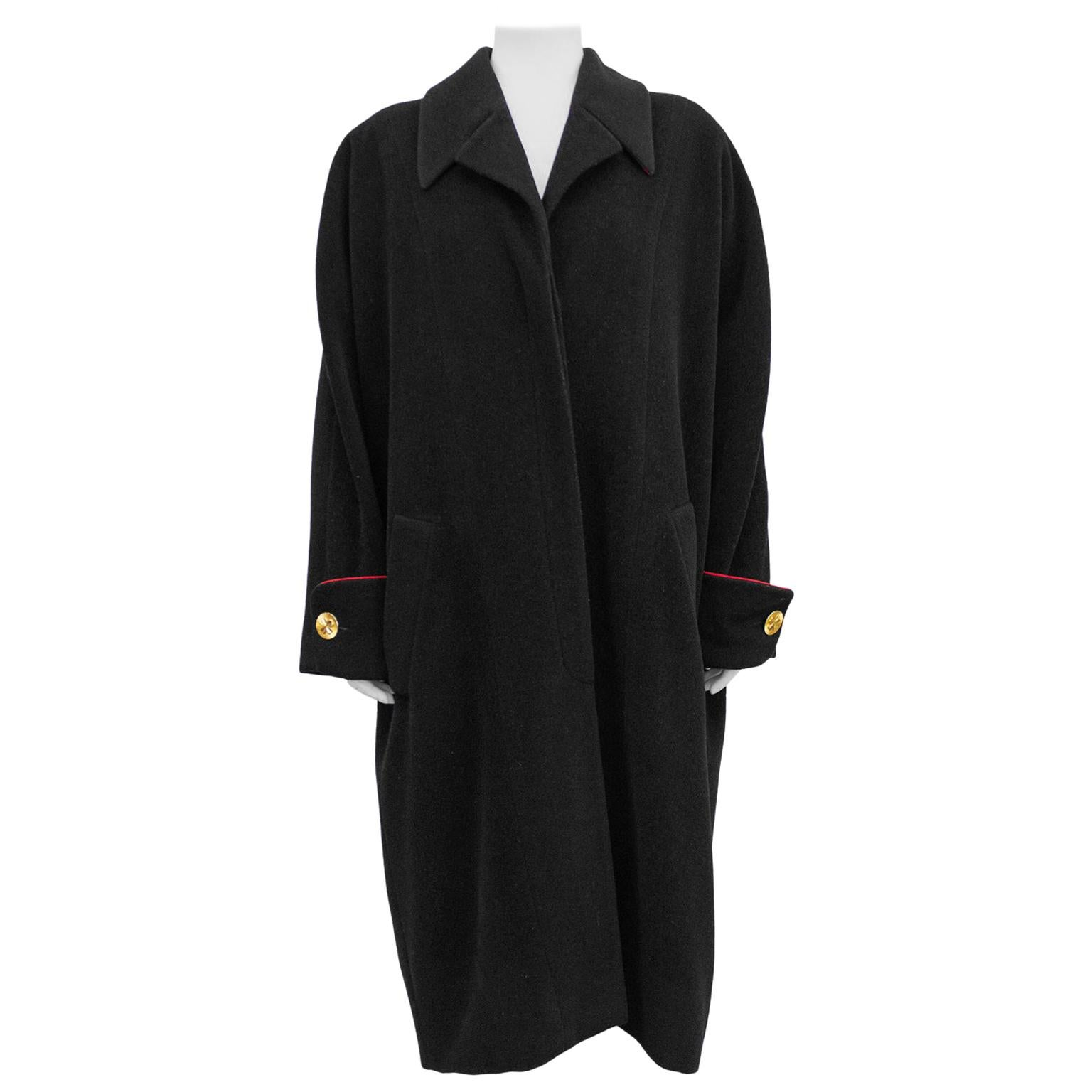 1990s Chanel Black Wool Cocoon Coat With Red Piping