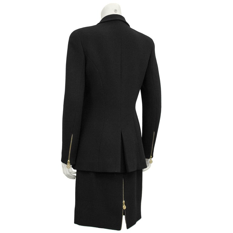 1990s Chanel Black Wool Skirt Suit with Large Gold Buttons  In Good Condition In Toronto, Ontario