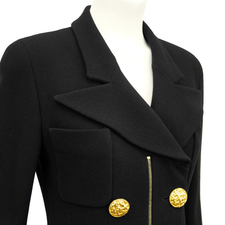 1990s Chanel Black Wool Skirt Suit with Large Gold Buttons  1