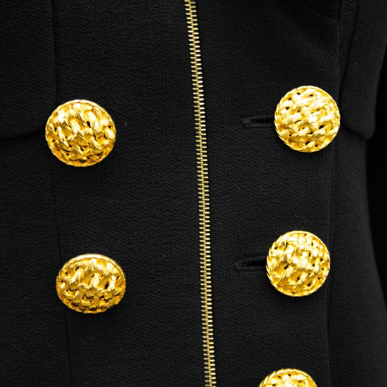 1990s Chanel Black Wool Skirt Suit with Large Gold Buttons  2