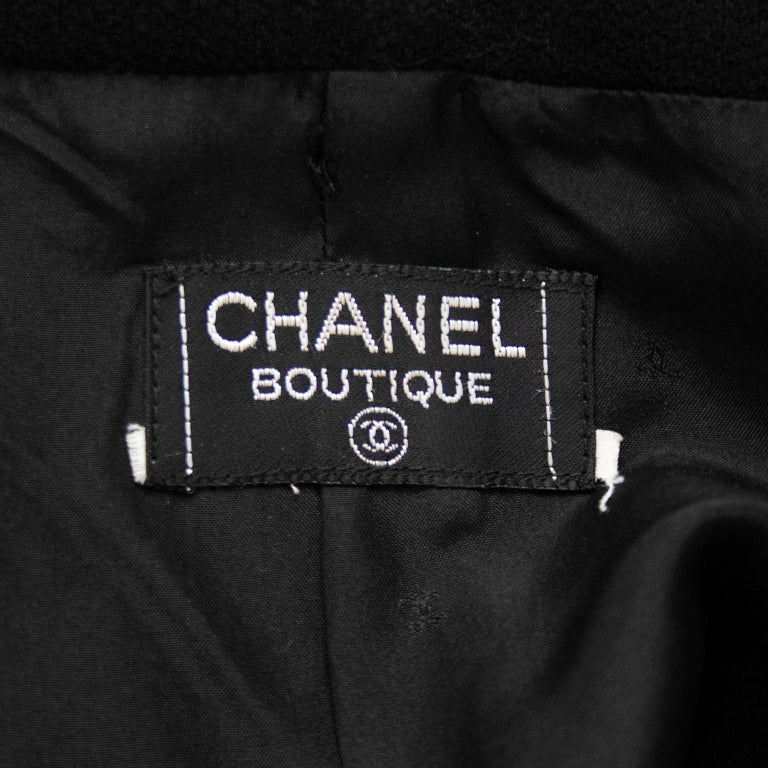 1990s Chanel Black Wool Skirt Suit with Large Gold Buttons  4