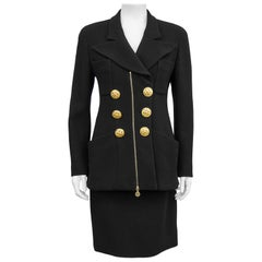 1990s Chanel Black Wool Skirt Suit with Large Gold Buttons