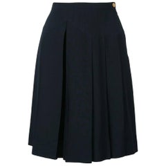 1990s Chanel Blue Pleated Pant Skirt