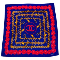 1990s Chanel Blue Silk Scarf with Flower and Chain Details