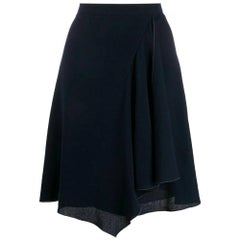 1990s Chanel Blue Wool Skirt