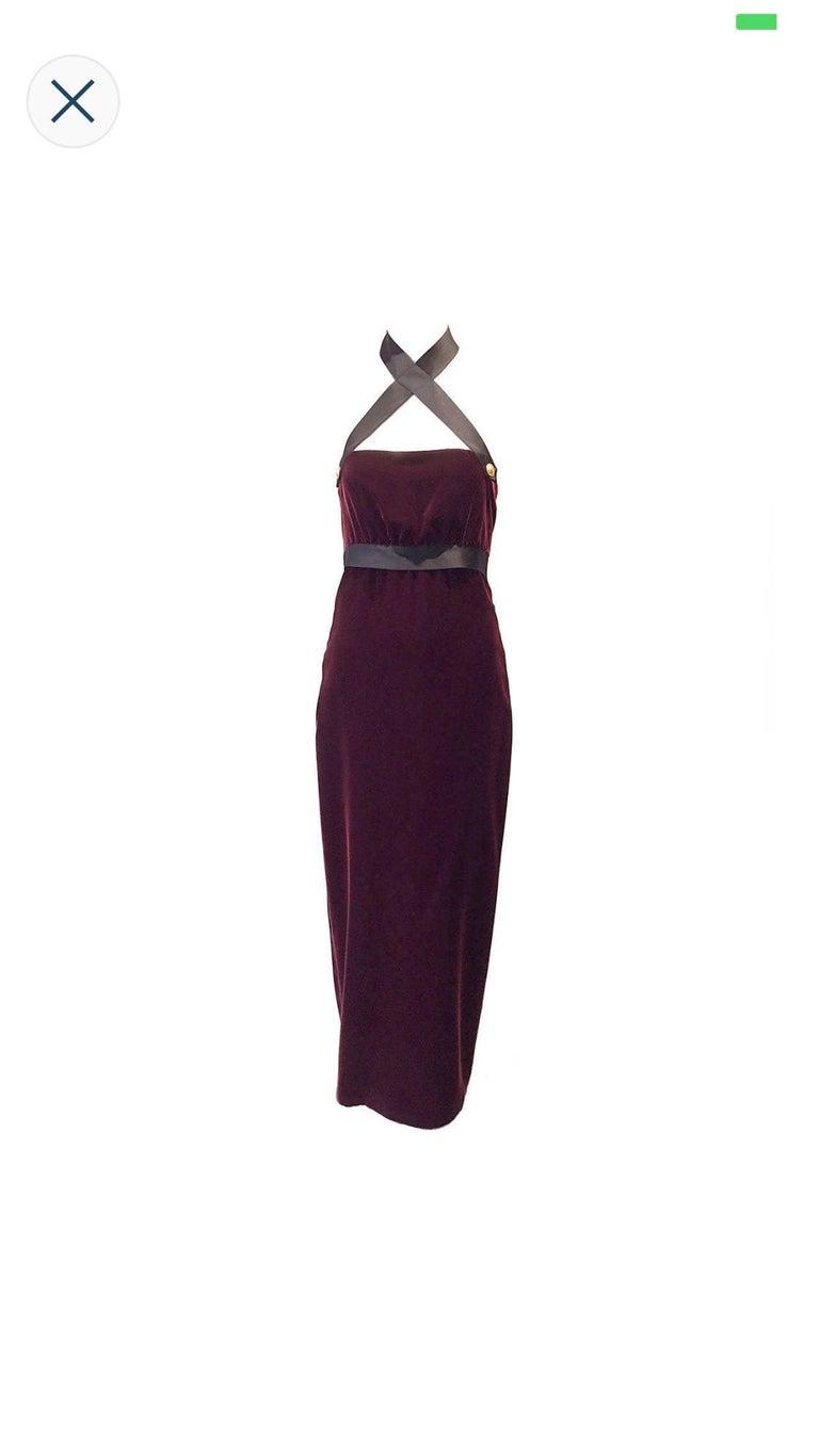 1990s Chanel burgundy velvet halter gown For Sale 2