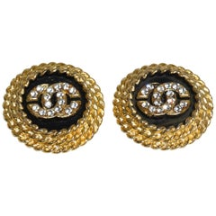 1990s Chanel CC Rhinestone Clip Earrings