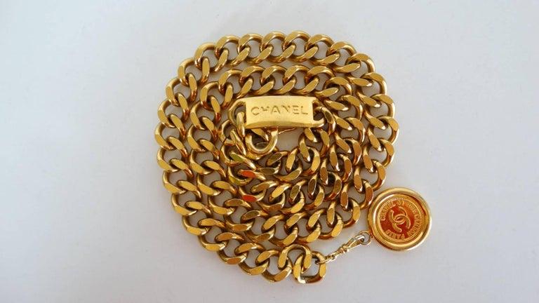 Women's or Men's Chanel Chain Link Medallion Belt, 1990s   For Sale