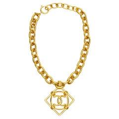 1990s Chanel Double CC Pendant Necklace By Victoire De Castellane