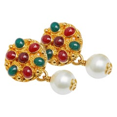 1990s Chanel Gold, Green and Red Maison Gripoix Cufflinks With Pearls