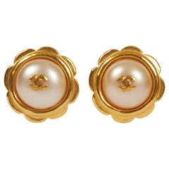 1990's Chanel  Gold Pearl Flower Earrings