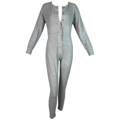 1990's Chanel Gray Long John Jumpsuit Bodysuit Romper