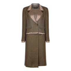 1990s Chanel Green Brown Tweed and Silk Three Piece Suit