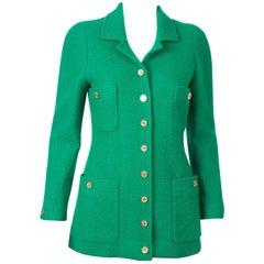 1990s Chanel Green Tweed Boucle Jacket