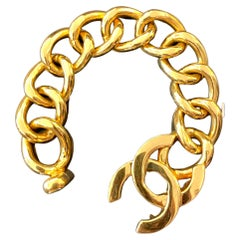 1990s Chanel Jumbo Gold Toned Turnlock Chain Bracelet