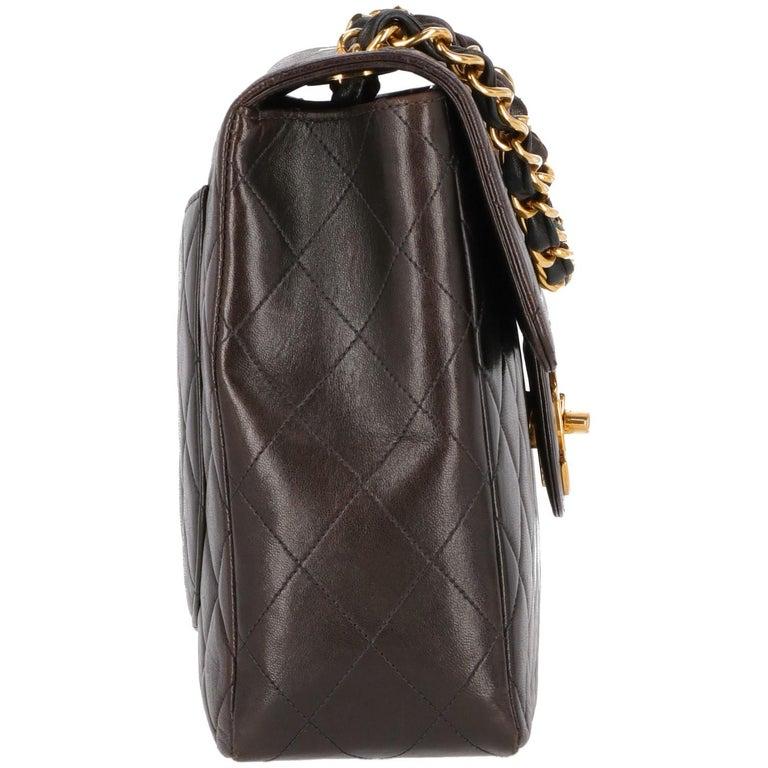 Black 1990s Chanel Jumbo Vintage Bag For Sale