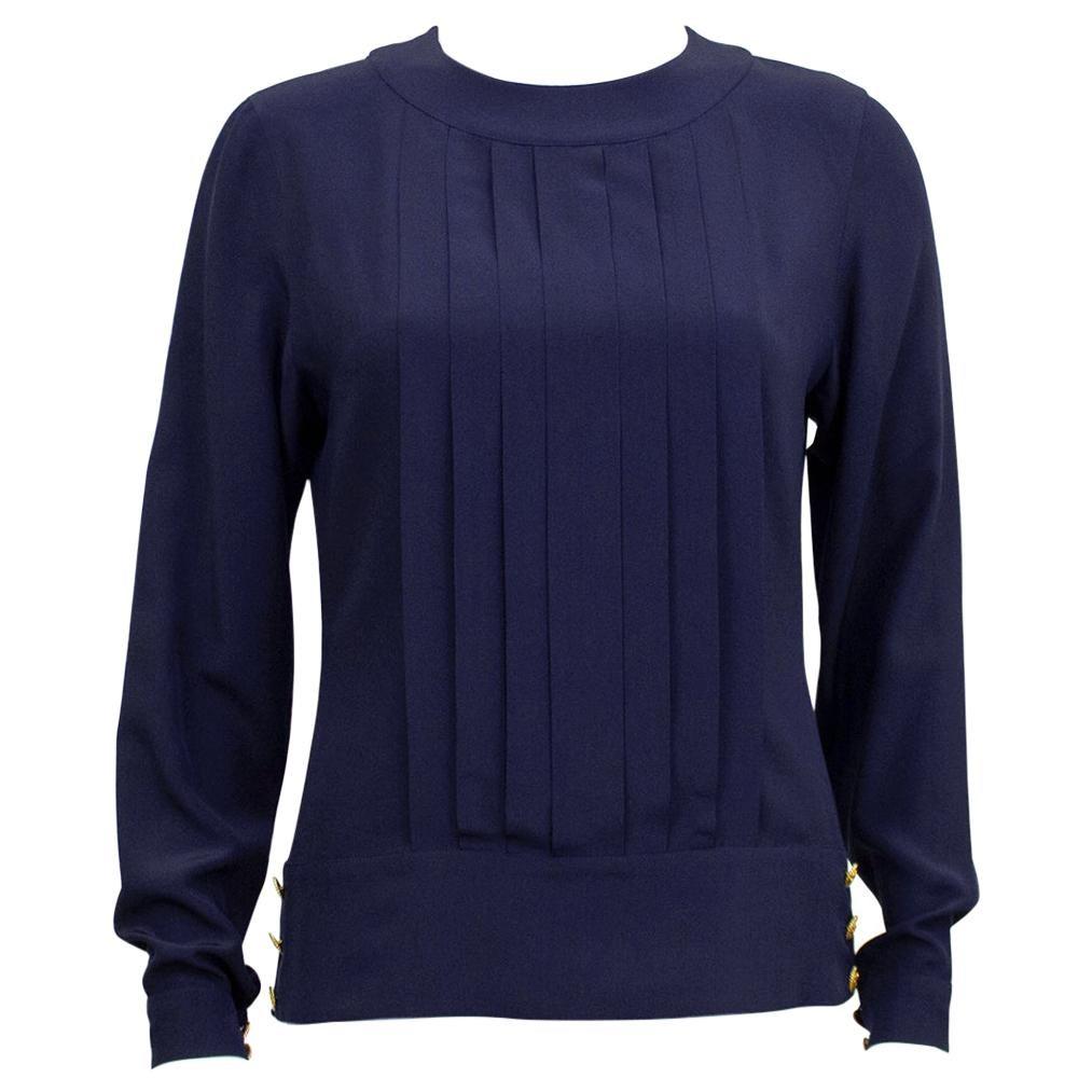 1990s Chanel Navy Blue Silk Blouson Top
