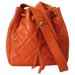 Chanel 1990s Orange Quilted Leather Bucket Bag