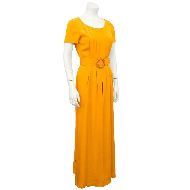 075b25d31c6c Gorgeous 1990s Chanel boutique bright orange silk jumpsuit. Short sleeve  with a slight scoop neckline