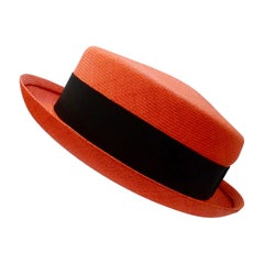 1990s Chanel Orange Straw Boater Hat