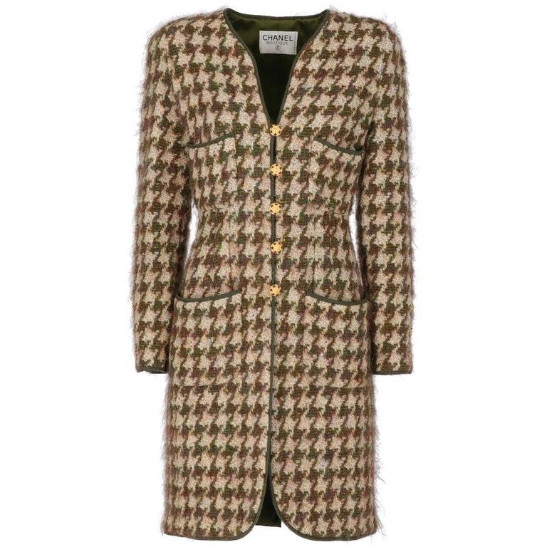 1990s Chanel Pied de Poule Overcoat For Sale