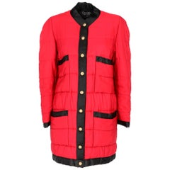 1990s Chanel Red And Black Duffle Coat