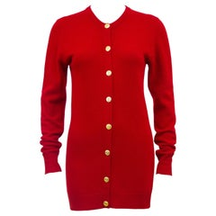 1990s Chanel Red Cashmere Cardigan