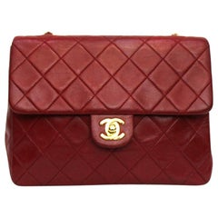1990s Chanel Red Leather Mini Flap Bag