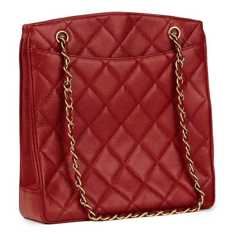 1990 Chanel Red Quilted Caviar Leather Vintage Shoulder Bag In Excellent  Condition For Sale In Bishop s 78e8d16f5c52c