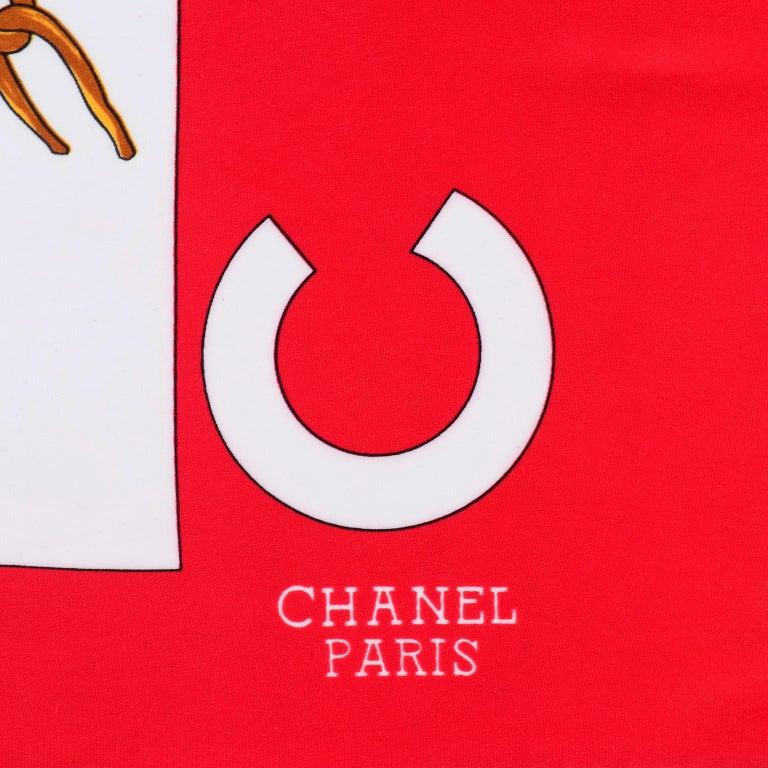 1990s Chanel Red & White Silk Scarf W/ Woman in Hat Earrings  & Pearls 1