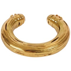 1990's Chanel Ribbed Goldtone Cuff