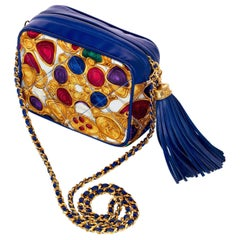 1990s Chanel Silk Gripoix Jewel Print Blue Leather Tassel Chain Crossbody Bag